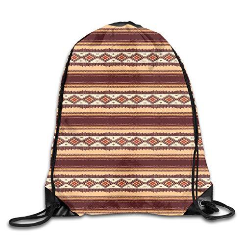 Drawstring Gym Bag Backpack,Native Ethnic Tribal Indigenous Pattern Primitive Country Theme,Rucksack for School Sports Travel Women Children Birthday Present
