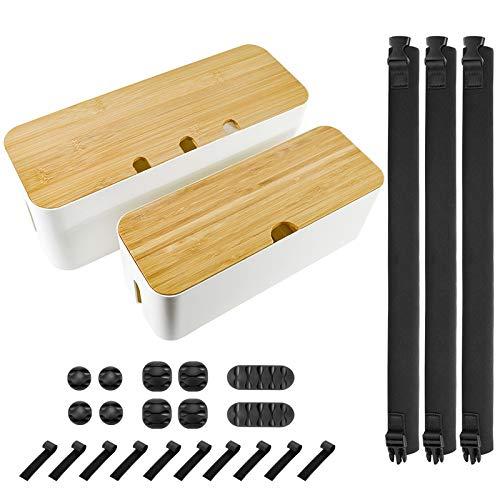 Kabel-Management-Box-Set, Bambus-Deckel, ABS-Material mit 23 Kabeln, Kabel-Organizer für Computer, TV, Zuhause, Büro, Schreibtisch, Küche, Netzkabel, Kabelaufbewahrung, Weiß, 2 Stück