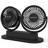 Dual Head Car Fan, USB Car Cooling Fan Car Dashboard fan Air Circulator Fan With Strong Wind, 3 Speeds, Ultra Quiet Wall Mountable Fan for Sedan SUV RV, Office Home Desk and More