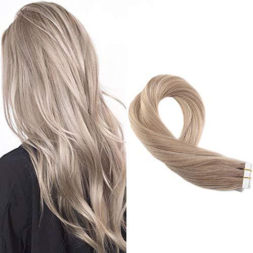 Moresoo 14zoll/35cm Klebeband Haarverlängerung Echthaar Brasilianer Remy Haar Aschblond 18# Remy Haar Tape on Extensions zum Kleben 20pcs/50gramm