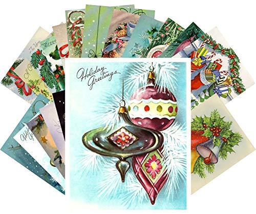 Vintage Christmas Greeting Cards 24pcs Christmas Tree Decorations and Ornaments Reprint Postcard Set