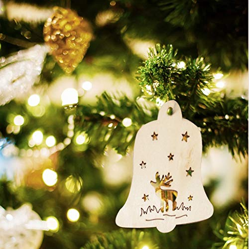 10PCS Wood Snowflakes Elk Bell Shaped, Christmas Tree Hanging Ornaments, Unfinis