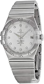 Omega Constellation Silver Diamond Dial Stainless Steel Men's Watch