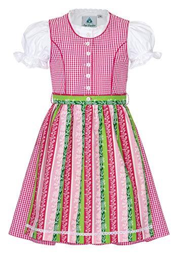 Dirndl dziecięcy Dirndl 3-częściowy strój bluzki fartuch dla dziewczynki na Oktoberfest kościół wesele wycieczka niedzielna, Rosa, 146 cm