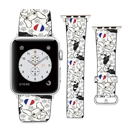 Compatible with Apple Watch Wristband 42mm 44mm, (French Bulldog) PU Leather Band Replacement Strap for iWatch Series 5 4 3 2 1