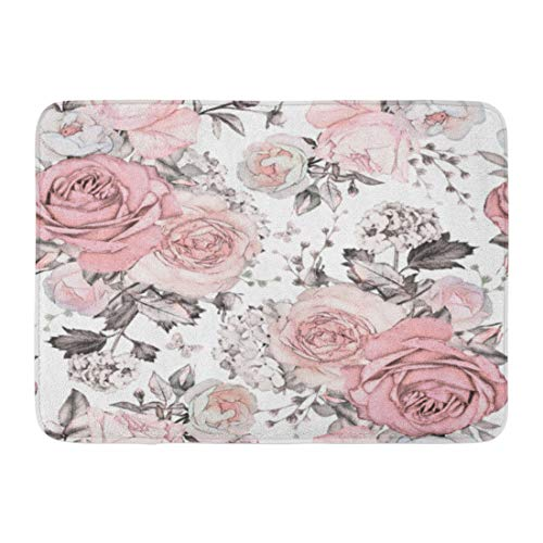 Emvency Doormats Bath Rugs Outdoor/Indoor Door Mat Gray Abstract Pink Flowers and Leaves on Watercolor Floral Pattern Rose in Pastel Color Artistic Bathroom Decor Rug Bath Mat 16' x 24'