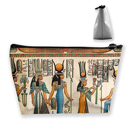 Bolsa de Maquillaje con Mural de Arte de la Cultura egipcia Vintage, Bolsa de Viaje de Almacenamiento Trapezoidal Grande, Bolsa de cosméticos para Lavar, portalápices, Cremallera, Impermeable