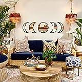 MAXROCK Moon Phase Mirror Set, 5 Piece Scandinavian Natural Acrylic Wall Decorative Mirror Bohemian Moon Mirror Wall Decoration Wall Mirror for Living Room Bedroom Apartment Flat (Acrylic Mirror)