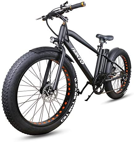 "NAKTO Fat Tire Electric Bike Beach Snow Bicycle 26"" 4.0 inch Fat Tire Electric Bicycle 300W36V10A/500W48V12A Electric Mountain ebike for Adults with 6 Speeds Lithium Battery,Smart LCD Display"