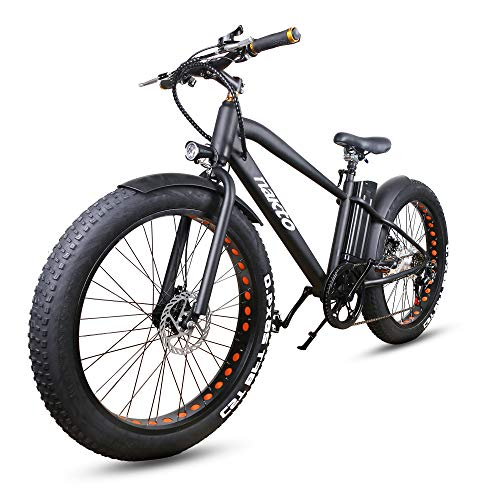 NAKTO 26' 350W Fat Tire Electric Bicycle Mountain Snow Beach Sporting Shimano 6 Speed Gear EBike Brushless Gear Motor with Removable Waterproof Large Capacity 36V10A Lithium Battery and Battery Charge