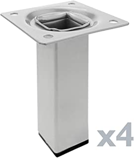 PrimeMatik - Pies Cuadrados para Mesa y Mueble. Patas en Acero Gris de 10cm 4-Pack