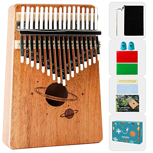 Chrider Kalimba Thumb Piano 17 Keys, Easy to Learn Portable African Wood Finger Piano Include Tune Hammer and Study Instruction, Gift for Kids Adult Beginners Professional.