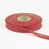 Stoffe Werning Baumwoll Schrägband Tupfen rot -Preis Gilt