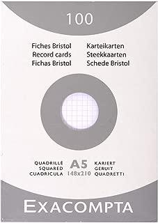 Exacompta Bristol - Tarjeta de registro, Cuadrícula (5x5), 140 x 210 mm, paquete de 100 tarjetas, Cuadrícula (5x5), Blanco, 140 x 210 mm, paquete de 100 tarjetas