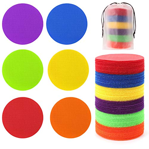 24 Pcs Carpet Standing Dot Spot Carpet Spots for Classroom, Carpet Sitting Dot Spot Markers with Hook and Loop Adhesion, Colorful Carpet Circles Floor Dots, Ideal for Kindergarten and School