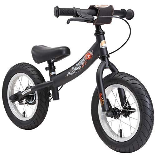 Bikestar Bicicleta de Equilibrio para Correr con Caballete Lateral y Freno para niños de 3 años | 12 Pulgadas Sport Edition | Negro (Mate)