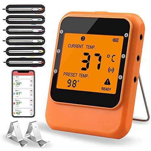 Fleischthermometer JiGiU Bluetooth Grill Thermometer mit 6 Edelstahlsonde Grillthermometer Funk Digitales Bratenthermometer LCD-Display, Unterstützung iOS & Android für BBQ Küchen (Orange)