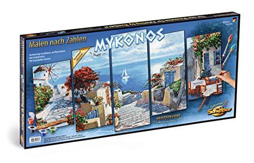 Schipper 609450797 Malen nach Zahlen, Mykonos - Bild malen für Erwachsene, inklusive Pinsel und Acrylfarben, 5 Bilder, Meisterklasse Polyptychon - Profi-Edition, 132 x 72 cm