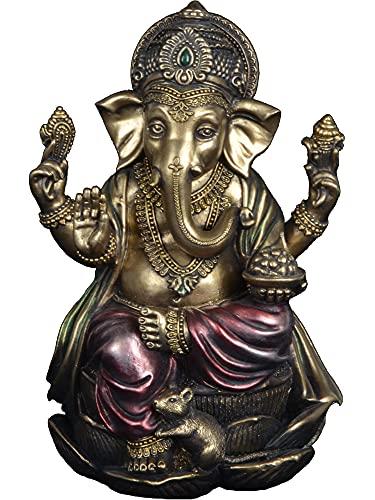 JORAE Ganesh Statue Elephant Buddha Sitting on Lotus Pedestal Lord Blessing Home Decor Hindu God Collectible Antique Bronze Finish Meditation Figurine, 7.2 in, Polyresin