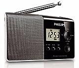 Philips Audio AE1850/00 - Radio Portátil FM/Am (Salida para Auriculares, Pantalla LCD), Gris/Negro
