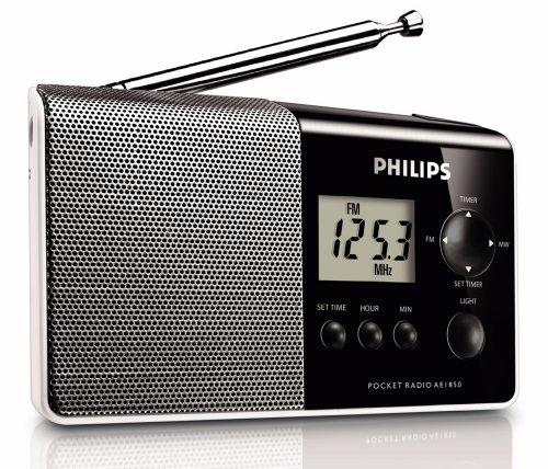 Philips AE 1850 draagbare radio (FM-/MW-tuner, klok, wekfunctie) zwart/zilver