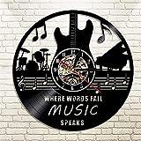 RFTGH Concierto Charla Disco de Vinilo Reloj de Pared música Rock Guitarra Tambor y Piano Instrumento decoración de Pared Arte