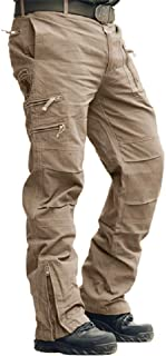 CRYSULLY Men's Cotton Multi-Pockets Work Pants Tactical Outdoor Military Army Cargo Pants (No Belt)