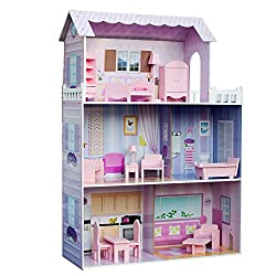 Teamson Kids - Fancy Mansion Wooden Dollhouse with 13 pcs Furniture for 12 inch Dolls