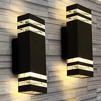 LANFU LED Wall Sconce Waterproof Porch Light 12W Black Modern Waterproof Wall Lamps 1000 Lumen 2700k Warm White IP65 Waterproof Outdoor Up/Down Light  2 PCS