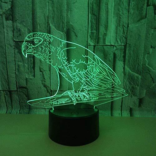 Animal Parrot 3D Led Night Light USB Bulb Figuur Bedroom Sleep Light USB Base Boy Kids Christmas Gift Toys 7 Kleur Change
