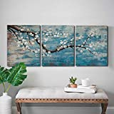 amatop 3 Piece Wall Art Hand-Painted Framed Flower Oil Painting On Canvas Gallery Wrapped Modern Floral Artwork for Living Room Bedroom Décor Teal Blue Lake Ready to Hang 12'x16'x3 Panel