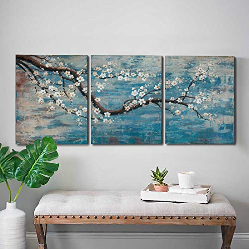 "3 Piece Wall Art Hand-Painted Framed Flower Oil Painting On Canvas Gallery Wrapped Modern Floral Artwork for Living Room Bedroom Décor Teal Blue Lake Ready to Hang 12""x16""x3 panel"