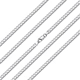 ChainsHouse 925 Silver Curb Link Chain Necklace for Men Women - 45cm Largo Personalizable Plata de Ley Collar de Cadena...