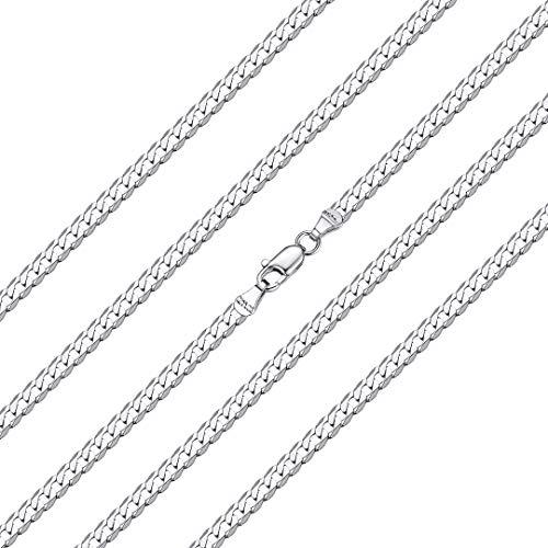 ChainsHouse 925 Silver Curb Link Chain Necklace for Men Women - 45cm Largo Personalizable Plata de Ley Collar de Cadena Cubana Hombres Mujeres Gratis Caja de Regalo