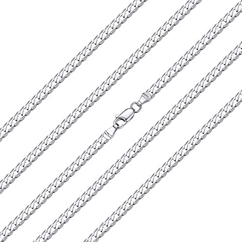 ChainsHouse 925 Silver Curb Link Chain Necklace for Men Women - 45cm Largo Personalizable Plata de Ley Collar de Cadena Cubana Hombres Mujeres Gratis Caja de Regalo