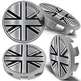 Biomar Labs® 4 x 68mm Tapas de Rueda de Centro Tapacubos Centrales Llantas Aluminio se Compatible con BMW Part. No. 36136783536 Bandera del Reino Unido UK Union Jack para Coche CBS 9