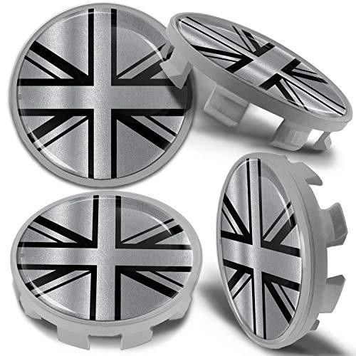 Biomar Labs 4 x 68mm Tapas de Rueda de Centro Tapacubos Centrales Llantas Aluminio se Compatible con BMW Part. No. 36136783536 Bandera del Reino Unido UK Union Jack para Coche CBS 9