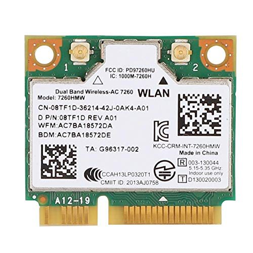 Wendry Dual-frequentie-netwerkkaart, voor Intel 7260HMW universele netwerkkaart Bluetooth 4.0 Mini-PCI-E-interface NIC, Bluetooth 4.0 en WiFi, twee verbindingsmodi voor laptops