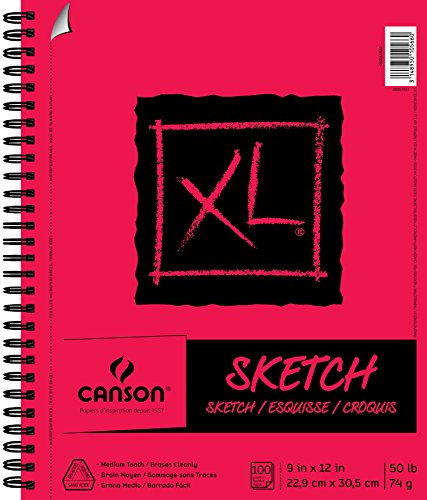 Canson XL Series Paper Sketch Pad for Charcoal, Pencil and Pastel, Side Wire Bound, 50 Pound, 9 x 12 Inch, 100 Sheets