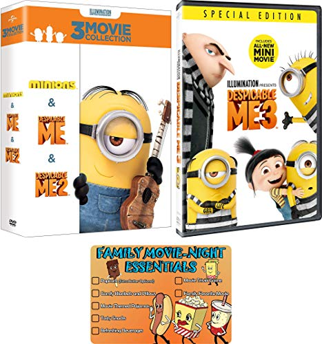 Despicable Me 1-3 + Minions: Complete Movie Series DVD Collection with Bonus Art Card