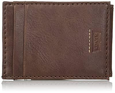 Levi's Men's Minimalist Front Pocket - Wallet with Magnetic Money Clip for Men Slim Thin RFID ID and Credit Card Holder, Dark Brown, One Size