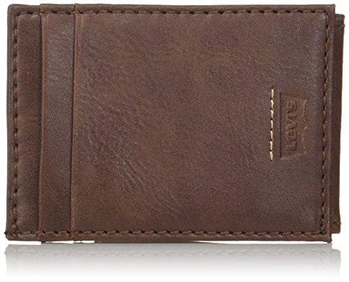 Levi's - Cartera con bolsillo frontal minimalista para hombre, con clip magnético para dinero para hombre, delgada, RFID y tarjetero de crédito -  Marrón -  talla única