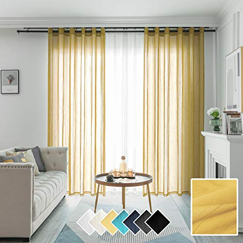 FY FIBER HOUSE Living Room Gold Sheer Curtains 84 inches Long Grommet Modern Linen Look Semi Transparent Voile Drapes 52Wx84L Inch Set of 2 Panels