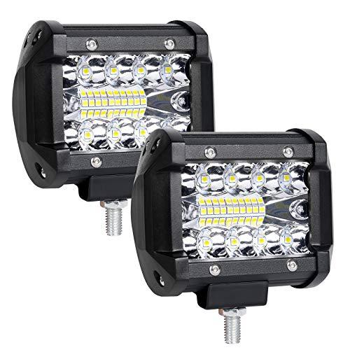URAQT LED Arbeitsscheinwerfer, 2x60W LED Auto Scheinwerfer 6000K Zusatzscheinwerfer, IP65 Wasserdicht Strahler LED Offroad Flutlicht, Rückfahrscheinwerfer für Auto, Traktor, SUV, UTV, ATV, 4 Zoll