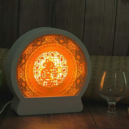 DGHJK Luz de Noche 3D para niños/Lámpara de ilusión 3D Luces de Regalo de año Lámpara de Talla de Papel 3D Creativa 12 Luz de Noche de año de Rata del Zodiaco Chino Lámpara de Mesa Decorativa Antigua