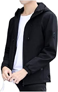 Mogogo Mens Relaxed Long Sleeve Pocketed with Hood Zip Up Jacket Outwear