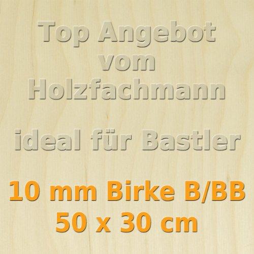 PiHaMi® 10mm Birke Sperrholzplatte Qualität B/BB (50 x 30cm) GP 66,60 €/m²