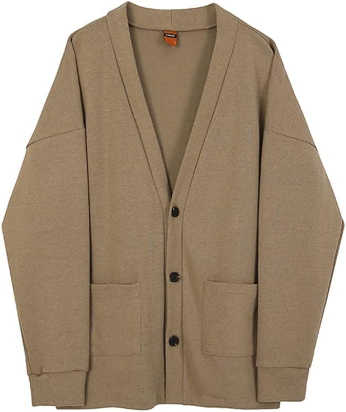SPNEC Cardigan Winter Man Sweaters Casual Loose Knitted Long Sleeve Harajuku Fashion Man Sweaters (Color : Khaki, Size : XXL Code)