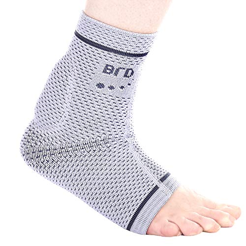 """BRD Sport Achilles Tendon Compression Ankle Brace - FDA Registered Brace Offers Breathable, Comfortable Recovery from Pain, Swelling, Tendonitis (Gray with Charcoal Accent Stripe, S [7.50""""-8.25""""])"""