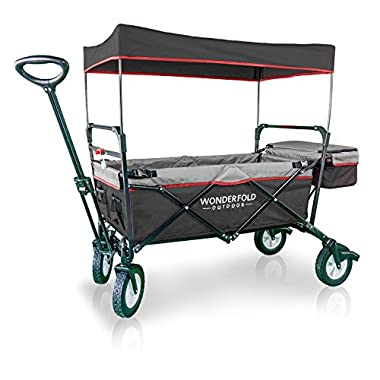 WonderFold Outdoor Multi-Purpose Value Model Collapsible Folding Wagon with Canopy, 180 Degree Active Steering Telescoping Handle, Sturdy Stand (Black/Grey)